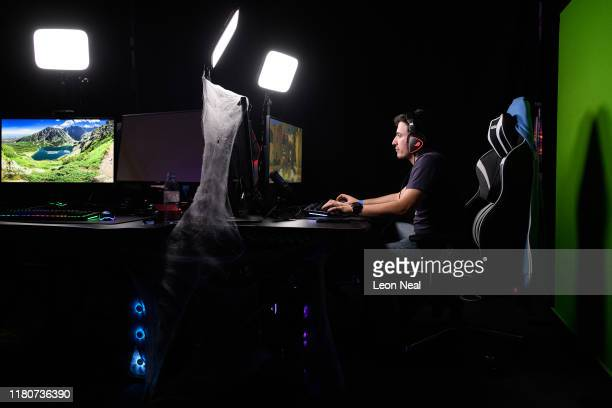 Streamer Ryew101 sits at the Scan Streamer Booth on day three of the epicLAN esport tournament at the Kettering Conference Centre on October 12 2019...