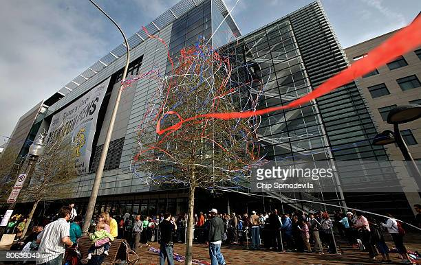 Streamers cling to a tree inn front of the Newseum during its grand opening celebrations April 11, 2008 in Washington, DC. The 250,000-square-foot...