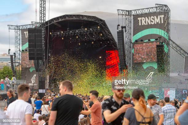 Streamers on stage during Friendly Fires' concert on the fifth day of TRNSMT Festival at Glasgow Green on July 8, 2018 in Glasgow, Scotland.