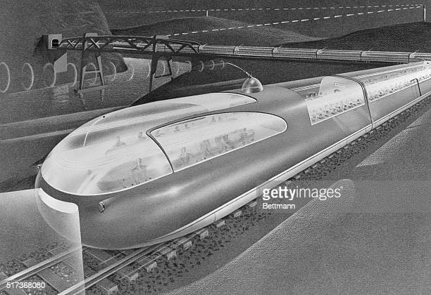 Streamliner and Automobile of 1975 The railroad industry predicts that in the nottoodistant future development of completely new articulated...