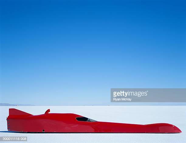 Streamliner racecar, side view, Bonneville Salt Flats, Utah, USA