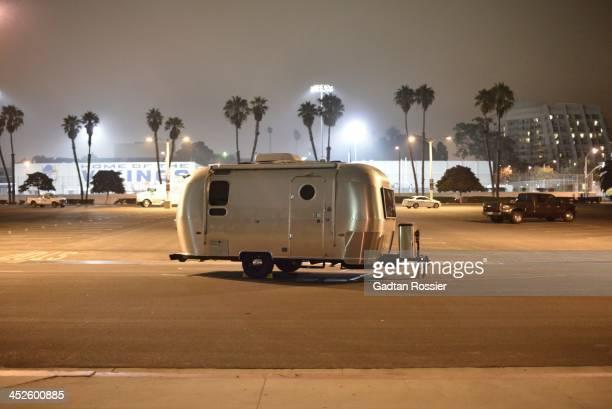 Streamliner van camping car parking los angeles night light santa monica