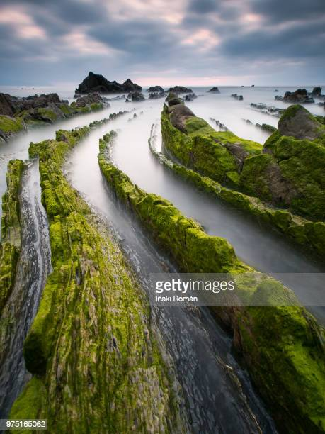 streams running through moss covered rocks towards the ocean. - iñaki mt stock photos and pictures