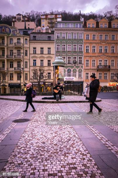 stree view at the historical centre, karlovy vary, czech republic - vsojoy stock pictures, royalty-free photos & images
