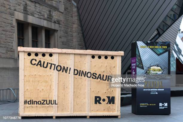 Street ad for 'Zuul Life of an Armoured Dinosaur' exhibit in the Royal Ontario Museum The box emits sounds of dinosaurs to attract the pedestrian's...