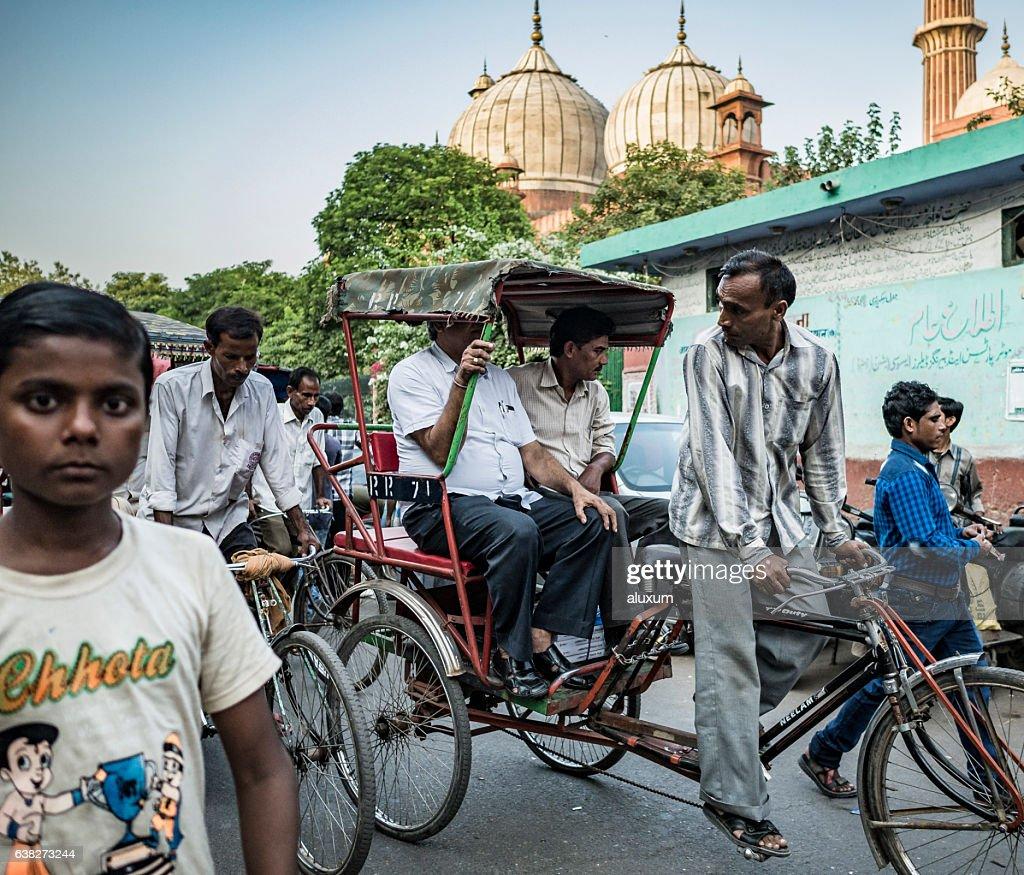 Street along the Jama Masjid mosque in Old Delhi : Stock Photo