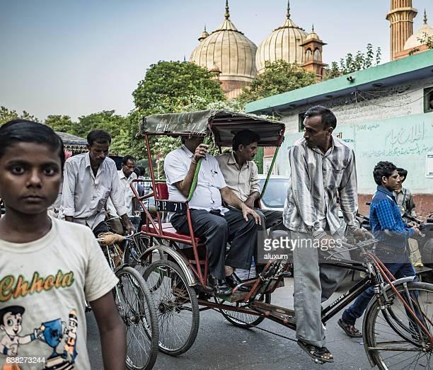Street along the Jama Masjid mosque in Old Delhi