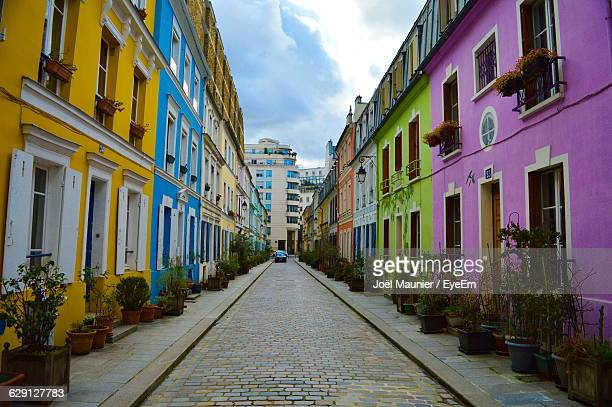 Street Amidst Colorful Houses