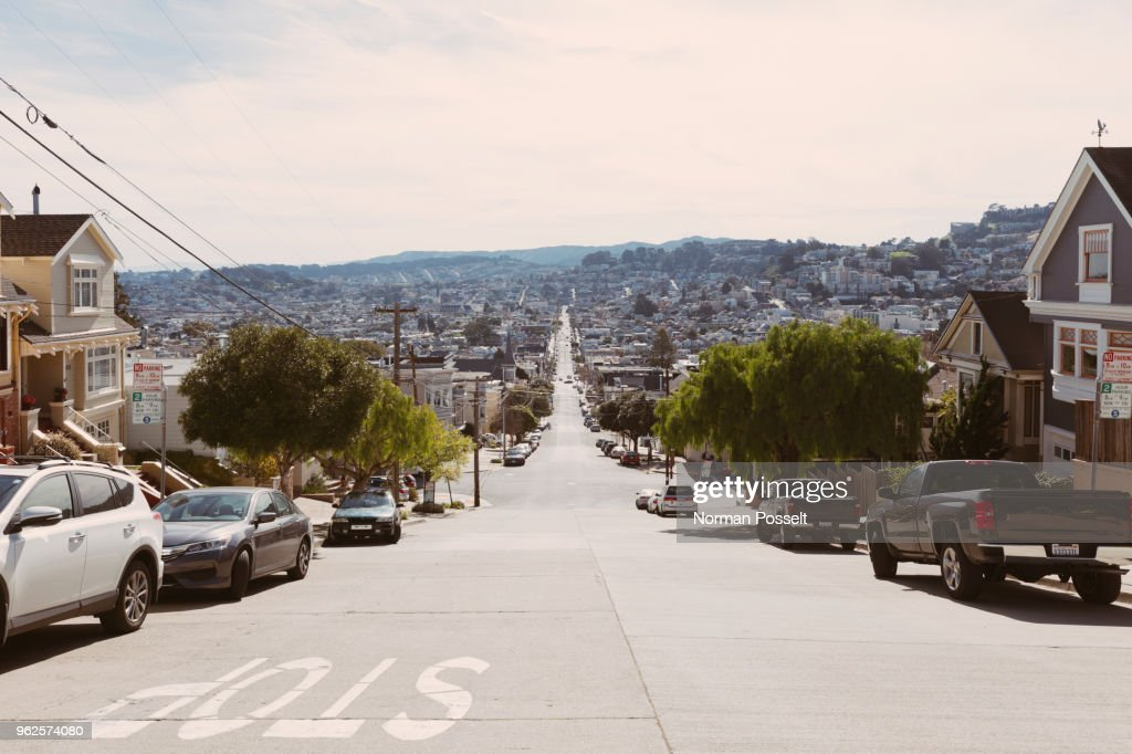 Street amidst residential buildings in city, San Francisco, California : Stock Photo