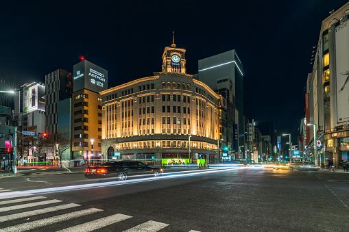 Street and buildings in Tokyo, Japan, 2018 New Year. - gettyimageskorea