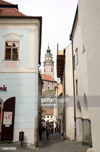 Street and Castel Tower in Česky Krumlov