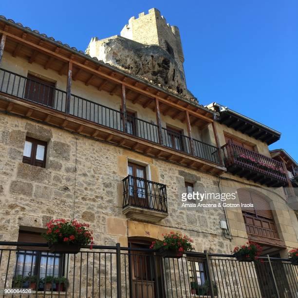 Street and castle in Frías. Burgos province, Castilla y León. Spain