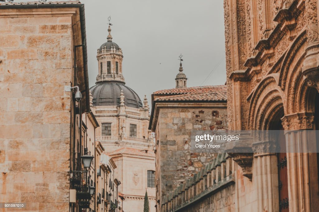 street and cathedral detail in Salamanca,Spain : Stock Photo