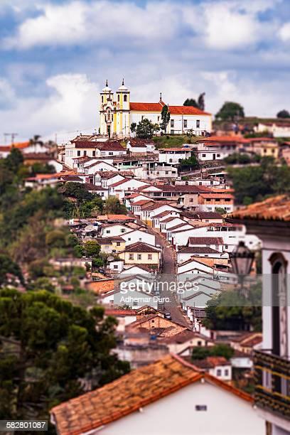 street and church at ouro preto - preto stock pictures, royalty-free photos & images