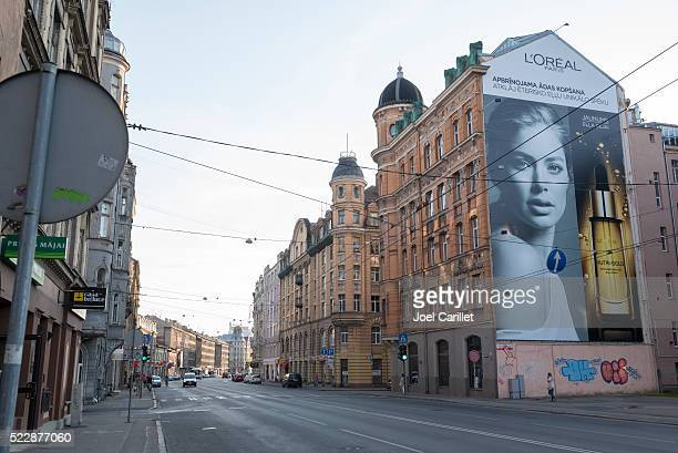 Street and L'Oreal ad in Riga, Latvia