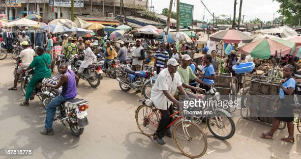 Street and market scene in Yaounde, Cameroon on October 30, 2012.