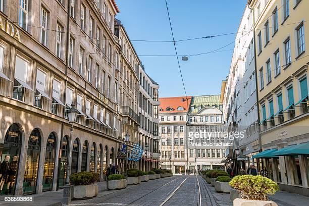 Street and Tram Tracks in Munich, Germany