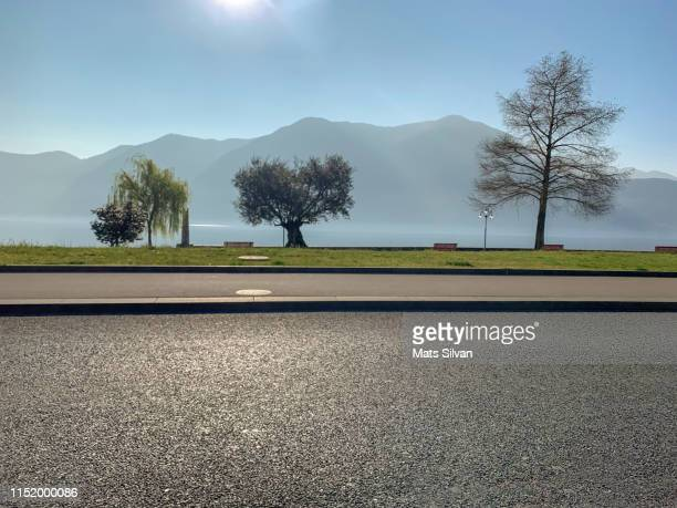 street and trees on waterfront with mountain - スイス ルガーノ ストックフォトと画像