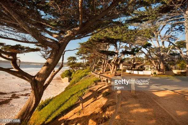 Street and walkway on Carmel Beach in Carmel-by-the-Sea
