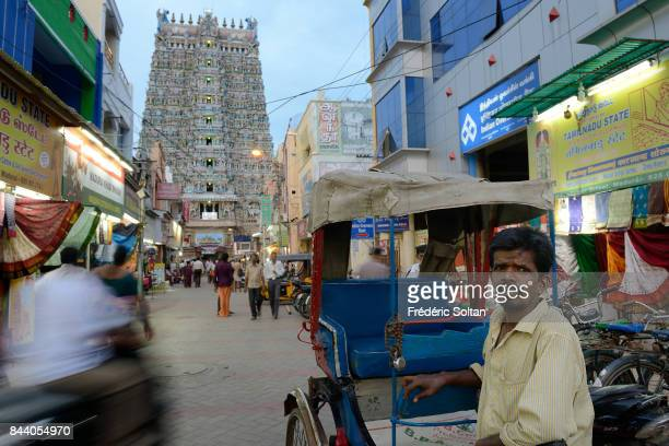 Street around the Meenakshi Amman Temple in Madurai built around the 17th century AD the temple is dedicated to Lord Shiva and Goddess Parvati in...