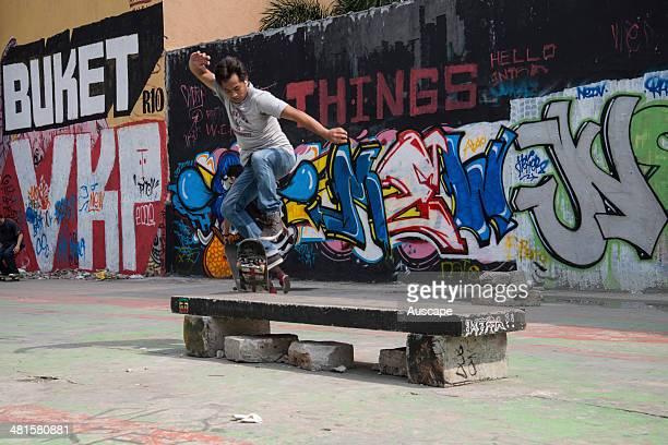Street art and a skateboarder Manila Philippines