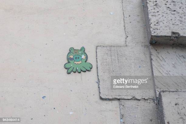 Street art by artist GZUP representing a pig from the video game Angry Birds in the 4th quarter of Paris on April 7 2018 in Paris France