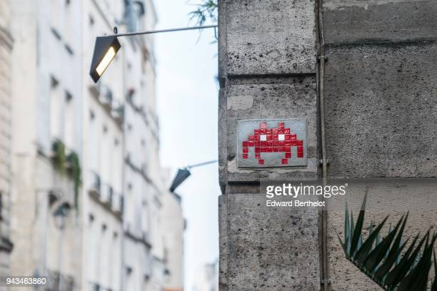 Street art by artist Invader in the 4th quarter of Paris on April 7 2018 in Paris France