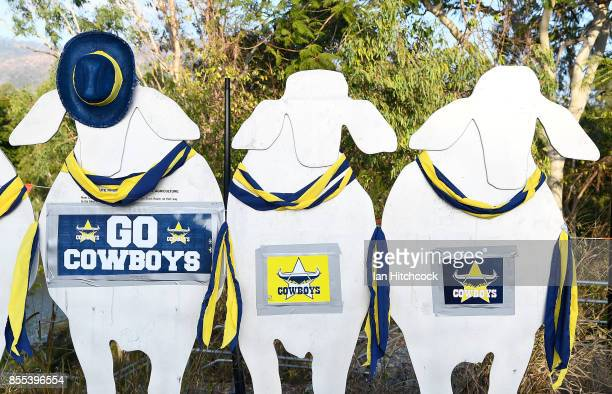 Street art decorated with Cowboys paraphernalia is seen on September 29 2017 in Townsville Australia The North Queensland Cowboys will play the...