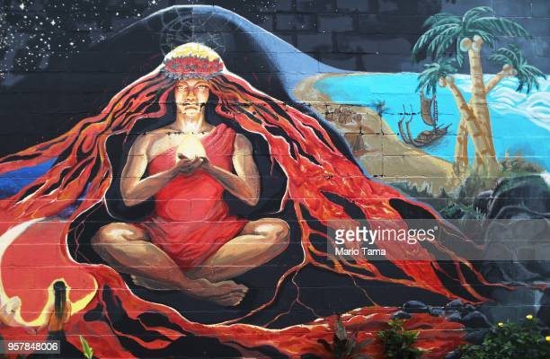 Street art depicts Pele the Hawaiian goddess of fire in the aftermath of eruptions from the Kilauea volcano on Hawaii's Big Island on May 12 2018 in...