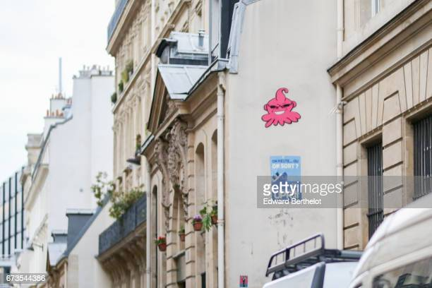 Street art graffiti by artist GZUP showing the Dragon Ball Z character Majin Boo 'Majin Buu' on April 15 2017 in Paris France