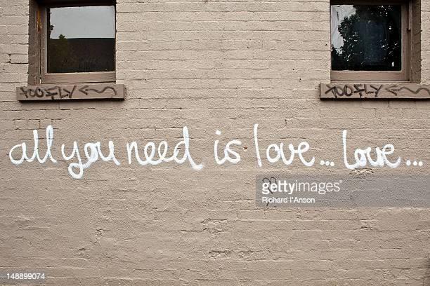 Street art graffiti on shop wall in George Street, Fitzroy.