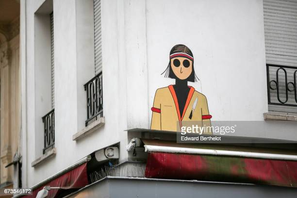 Street art graffiti showing a Naruto cartoon character in the 1st quarter of Paris on April 22 2017 in Paris France