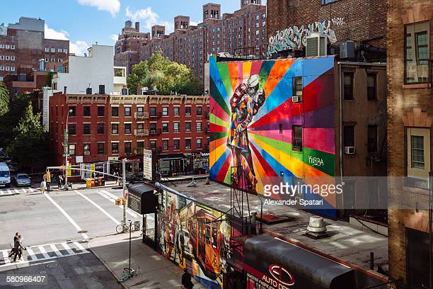 street art in chelsea, manhattan, new york city - chelsea new york stock pictures, royalty-free photos & images