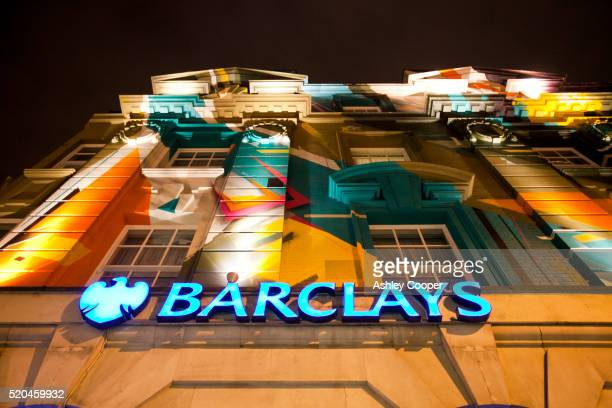a street art mural on the megaro hotel on euston road, london, uk. - barclays brand name stock pictures, royalty-free photos & images