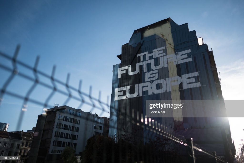 Street art reading 'The Future Is Europe' is seen on the side of building near to the European Council headquarters on June 23, 2017 in Brussels, Belgium.