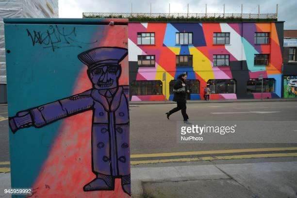 A street art seen on a traffic traffic signal box in Dublin's City Center On Friday April 13 in Dublin Ireland