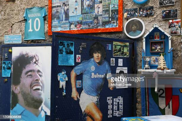 Street art showing ex Napoli player Diego Maradona in the city of Naples ahead of the UEFA Champions League round of 16 first leg match between SSC...