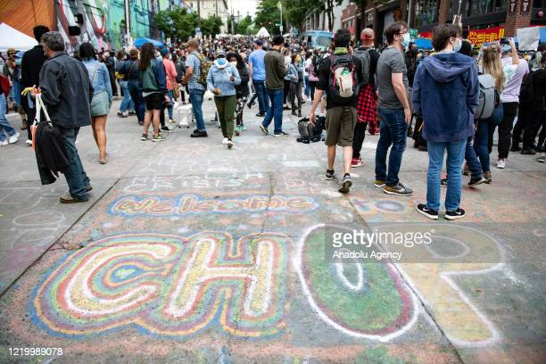 Street art welcoming people inside the âCapitol Hill Organized Protestâ formerly known as the âCapitol Hill Autonomous Zoneâ in Seattle Washington on...