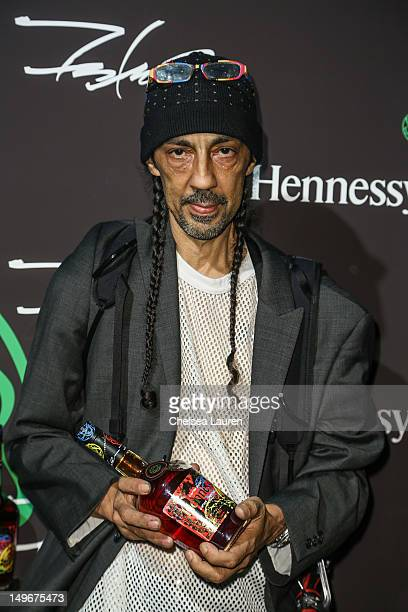 Street artist Futura 2000 arrives at Hennessy's unveiling of a limited edition bottle designed by street artist Futura at Milk Studios on August 1,...