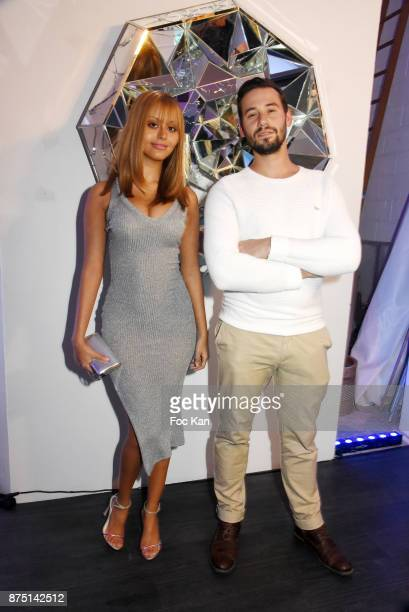 Street artist Le Diamantaire and Zahia Dehar attend the 'Second Life' By Le Diamantaire Private Exhibition Preview at Atelier Philippe Berry on...
