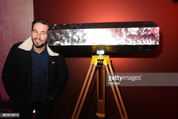 Street artist Le Diamantaire poses with his diamantoscope Nektart Wine Party at Palais de Tokyo Art Club on November 29 2017 in Paris France