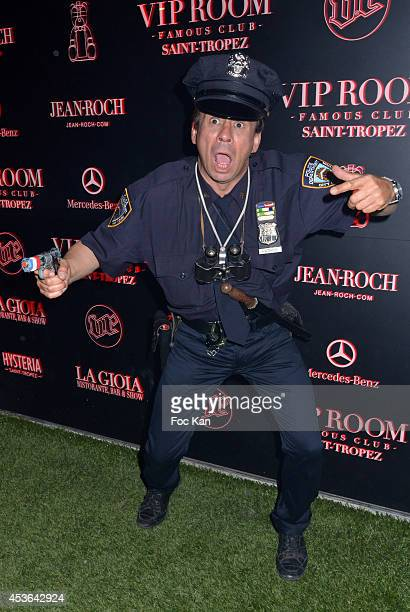 Street artist/comedian Patrick Chagnaud well known as 'Gendarme de Saint Tropez' attends the DJ Ruckus Party at the VIP Room Saint Tropez on August...