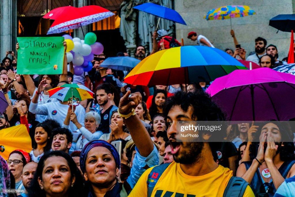 Demonstration To Support Brazilian Presidential Candidate Fernando Haddad : News Photo