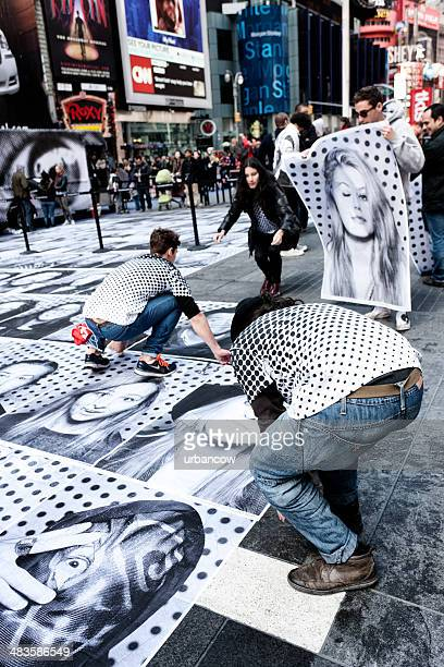 street artists in times square, new york city - drawing artistic product stock pictures, royalty-free photos & images