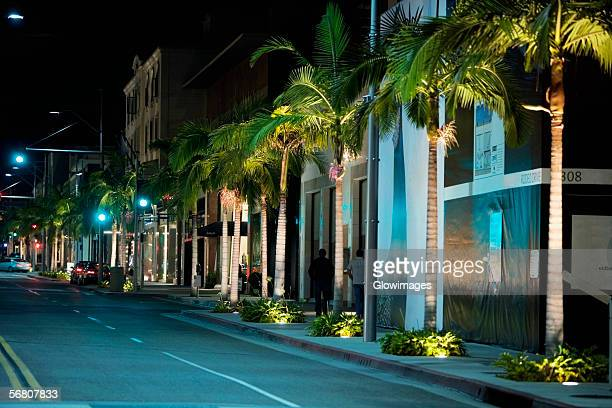 Street at night, Rodeo Drive, Los Angeles, California, USA