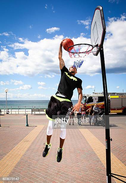 Street baller and Ball Up All Star Guy Dupuy performs at Bondi Beach on November 14 2016 in Sydney Australia