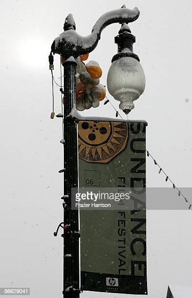 A street banner is seen during the 2006 Sundance Film Festival on January 19 2006 in Park City Utah