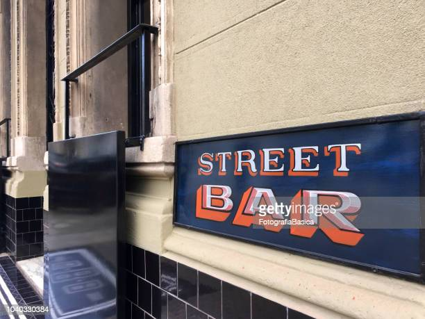 street bar sign - palermo buenos aires stock photos and pictures