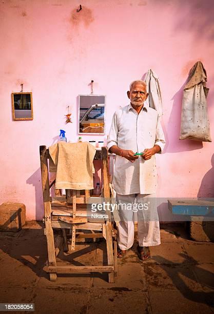 street barber in India