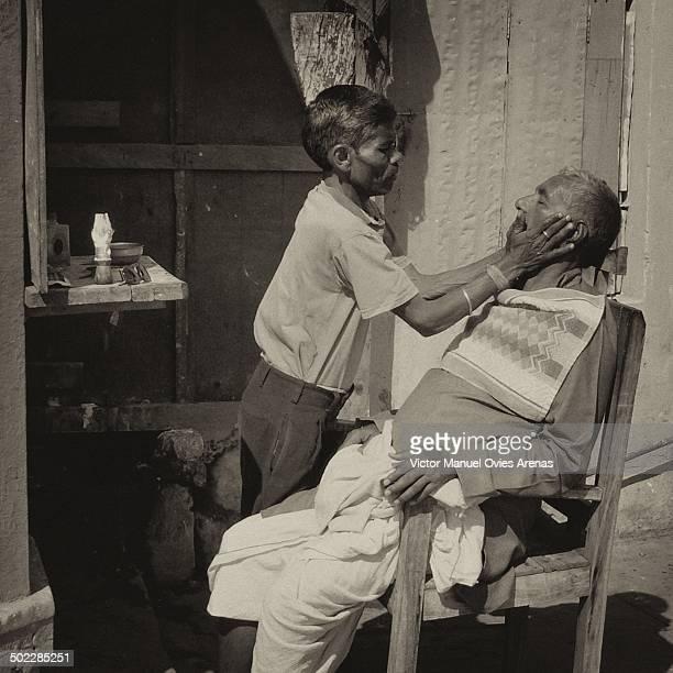 Street barber in the ghats of Varanasi